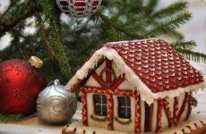 Рождественский пряничный домик и рецепт с фото и с выкройкой изделия