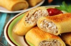 Сытные блины фаршированные мясом и рисом и рецепт для домохозяек